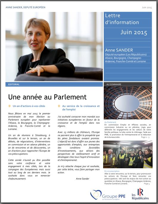 Lettre information Anne SANDER juin 2015